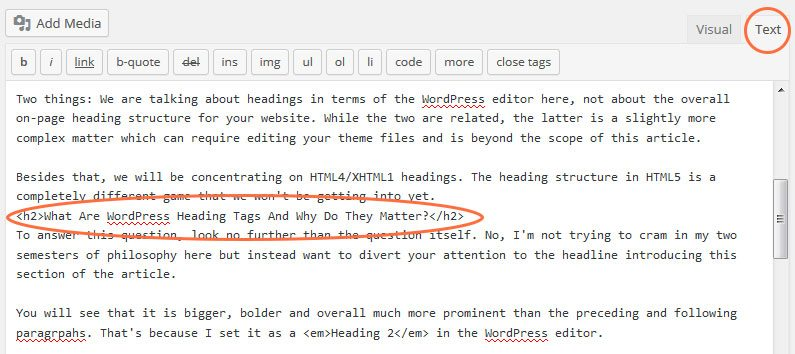 Wordpress Heading Tags in Text Editor