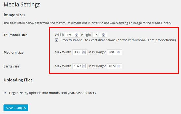 SEO image optimization WordPress Media Settings