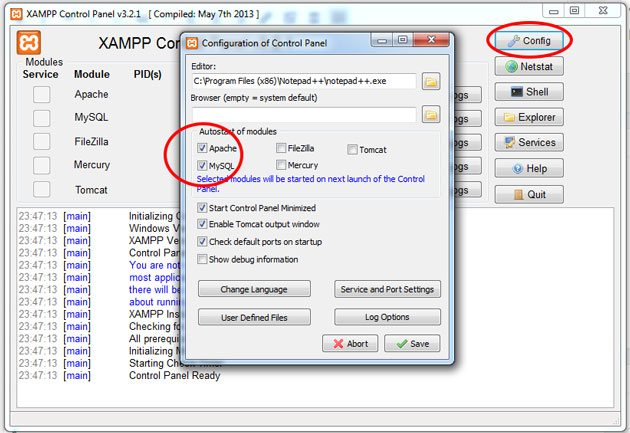 xampp-autostart-options