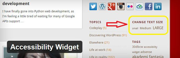 Accessibility widget WordPress plugin