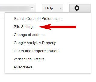 Google webmaster tools site settings