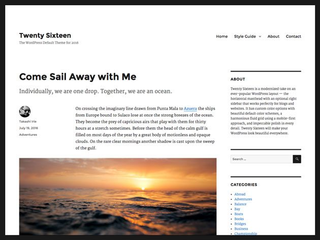 Twenty Sixteen accessibility-ready-WordPress theme