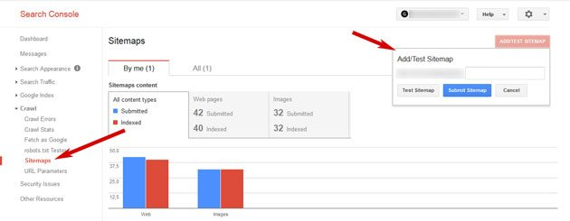 website indexed by Google submit sitemap