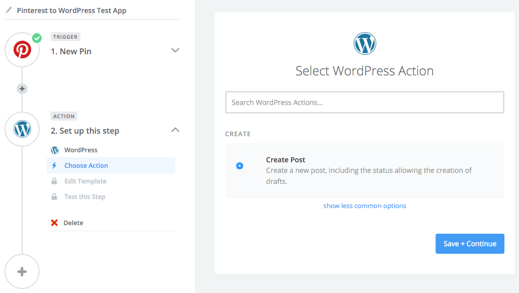 Selecting the WordPress action.