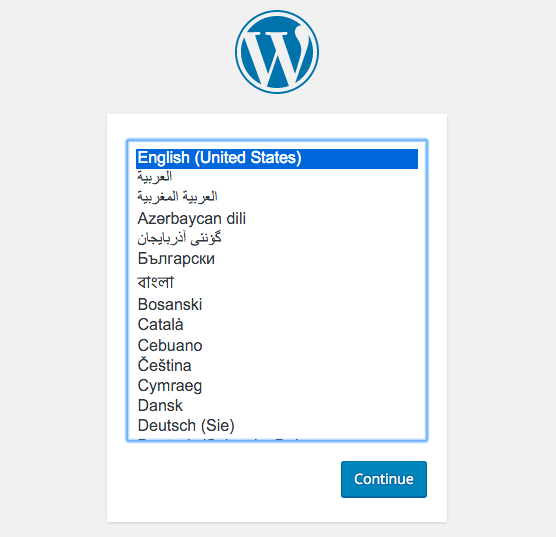 WordPress install screen.