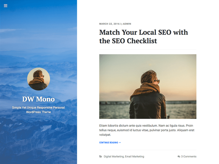 DW Mono Free WordPress Themes