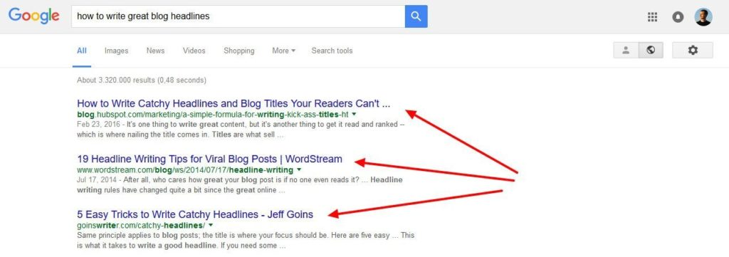 seo copywriting optimize headline