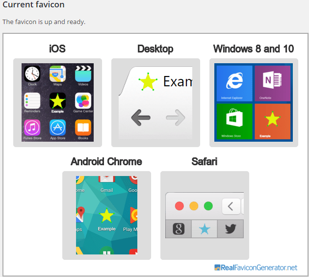 Preview of favicon on different devices.