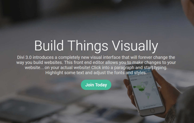 Divi Builder preview.