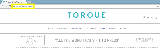 The SSL 'lock' icon on the Torque website.