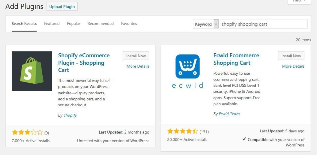 install shopify ecommerce plugin