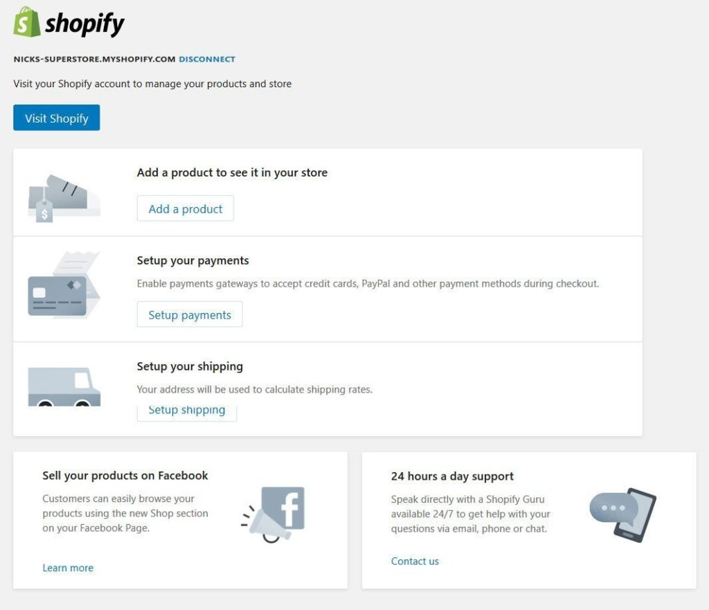 shopify settings page inside wordpress