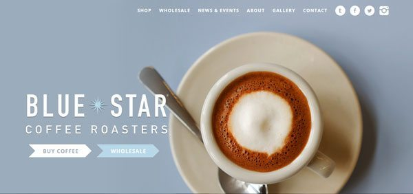 wordpress ecommerce examples blue star coffee roasters