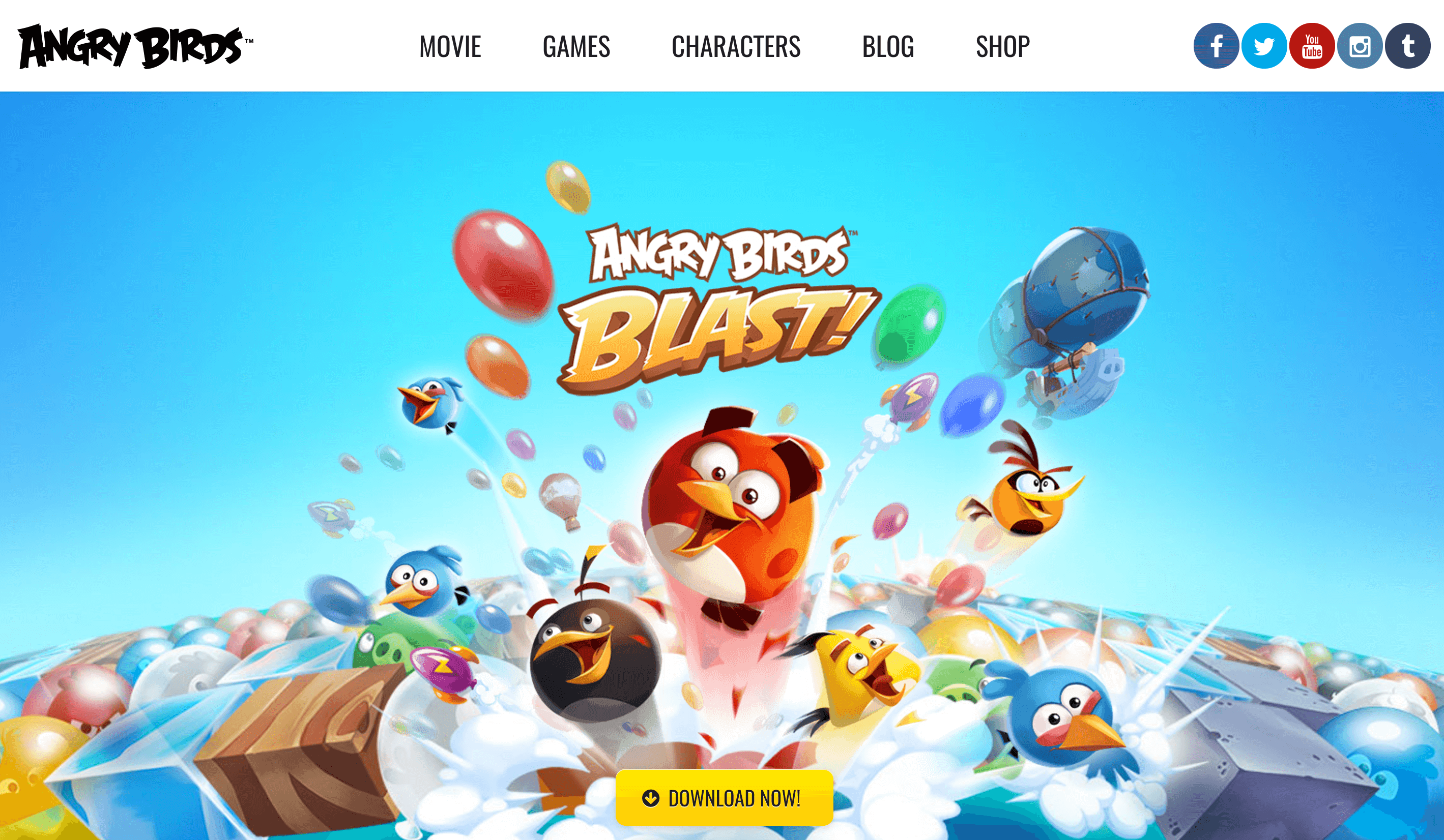 The Angry Birds home page.