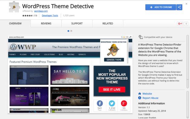 Example of a Chrome browser extension for discovering WordPress themes
