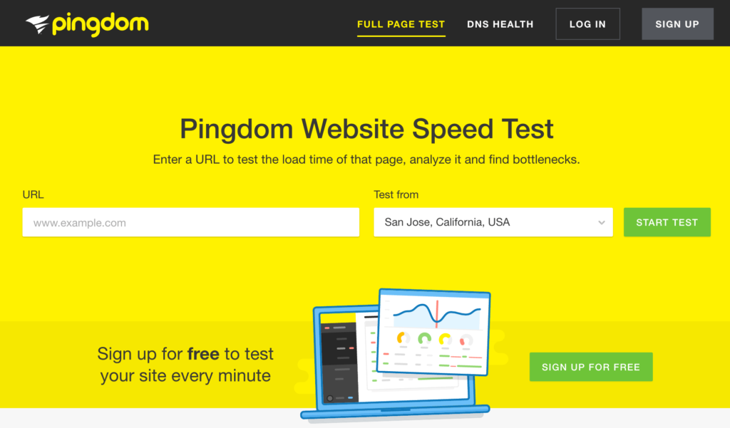 The Pingdom home page.