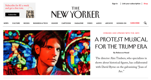 The New Yorker home page.