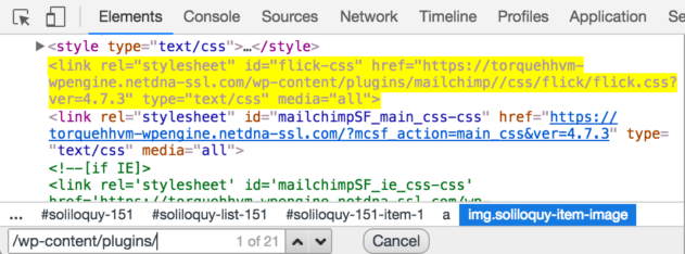 Searching for elements in Chrome Inspector