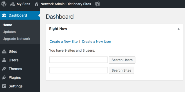 WordPress' Multisite dashboard.