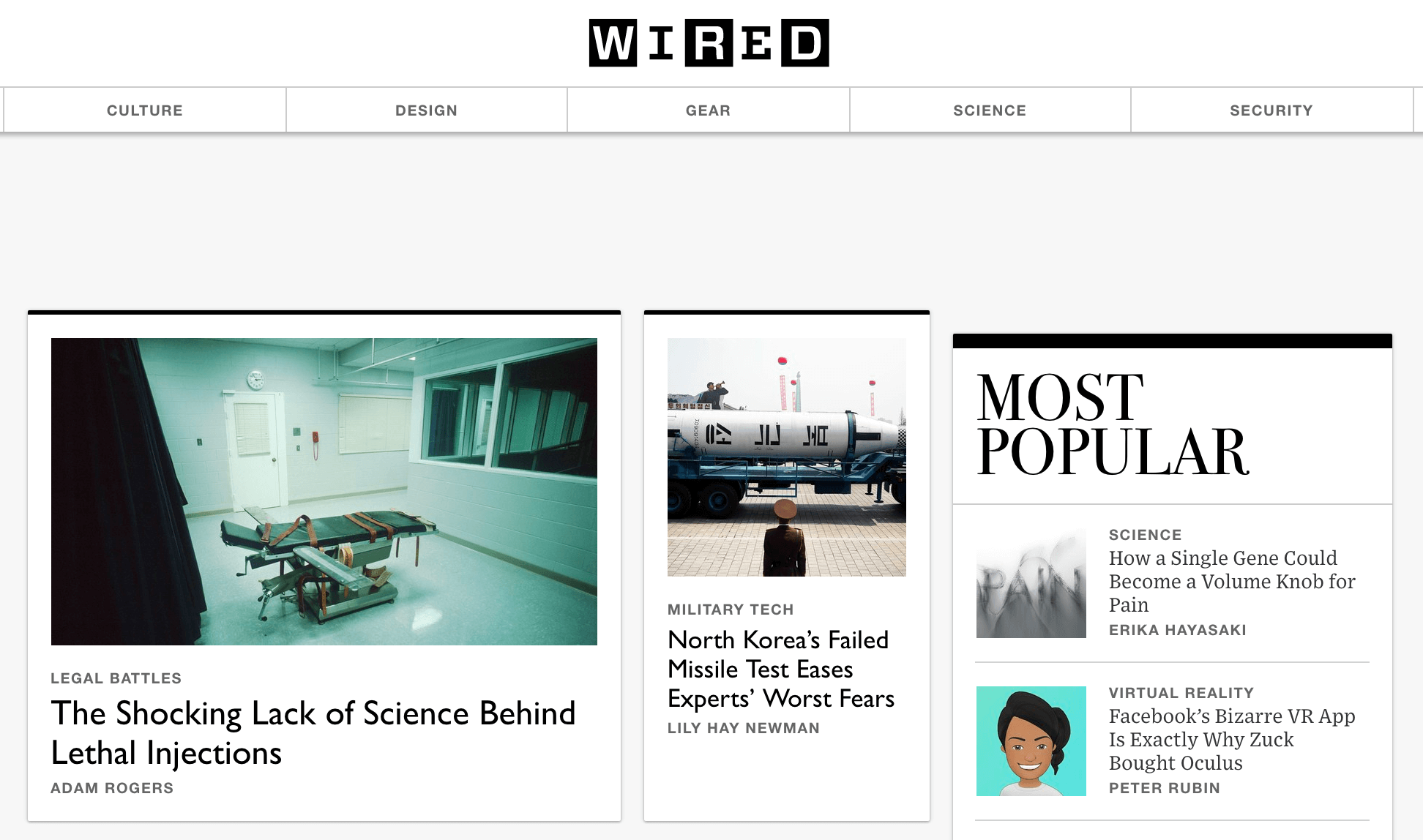 Wired homepage