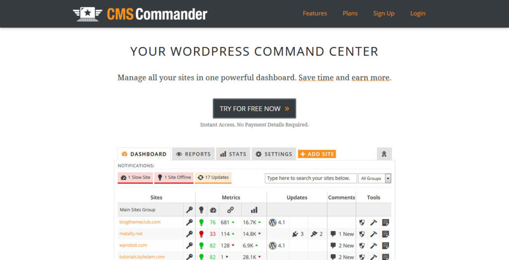 manage multiple wordpress sites CMS Commander
