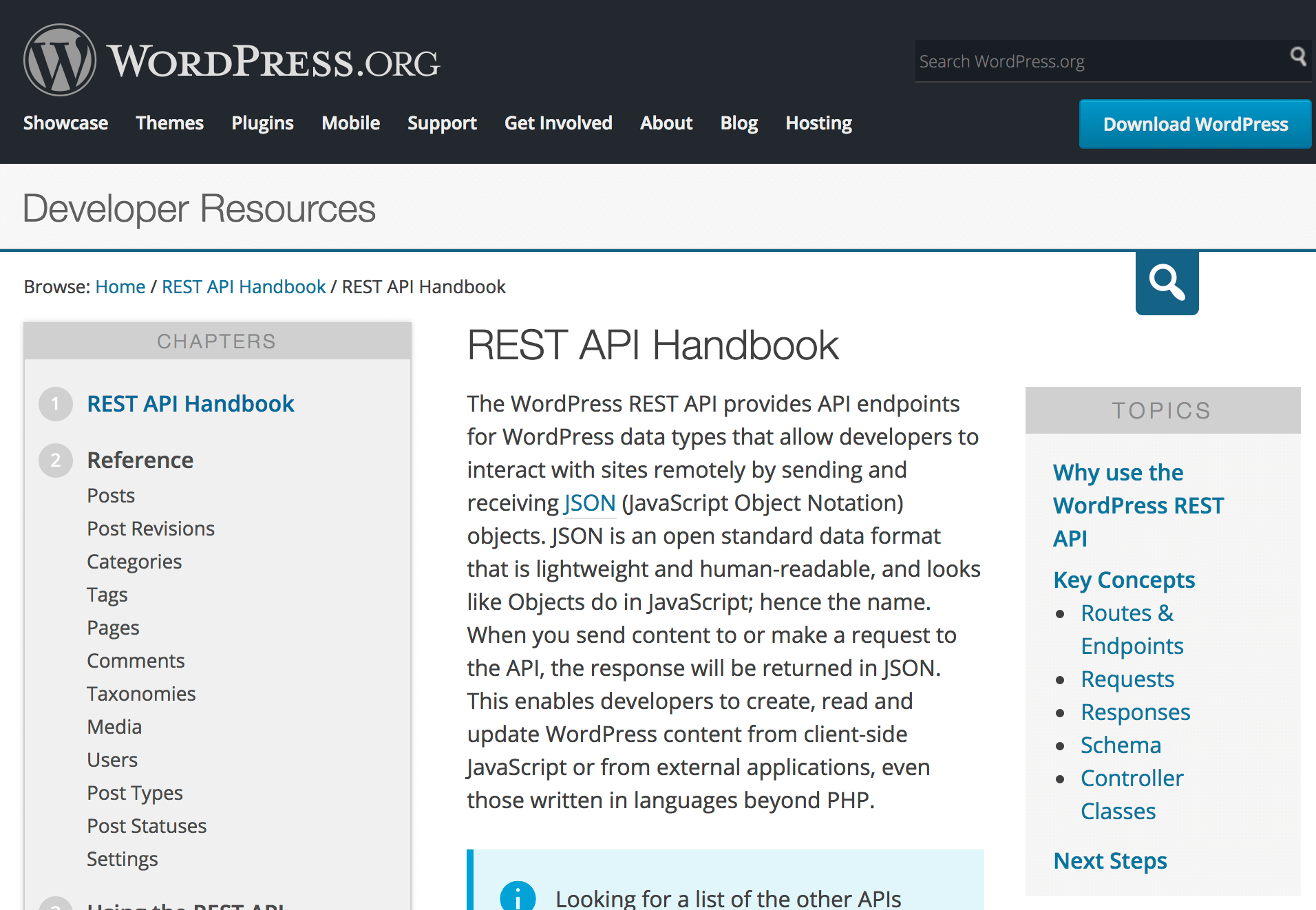 WordPress REST API handbook