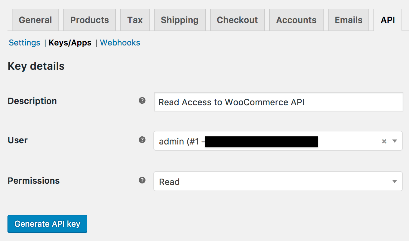 WooCommerce new API key settings