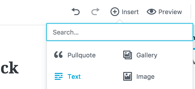 Gutenberg insert dropdown