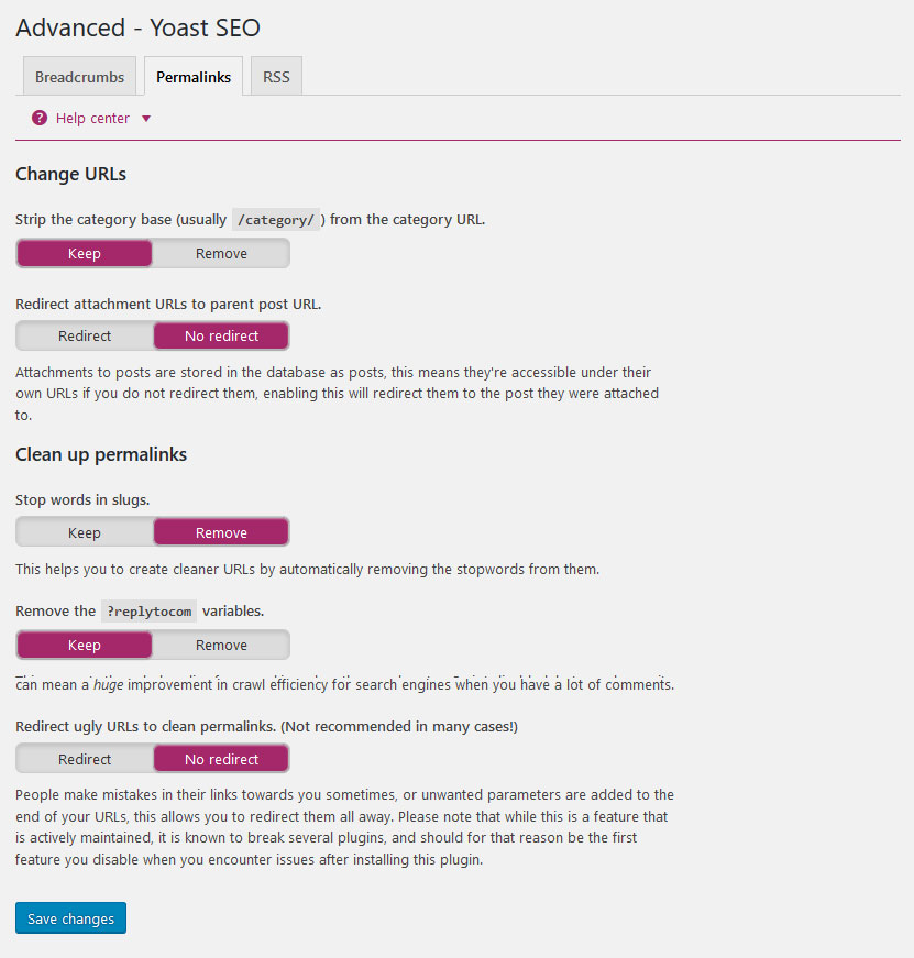 yoast seo advanced settings permalinks