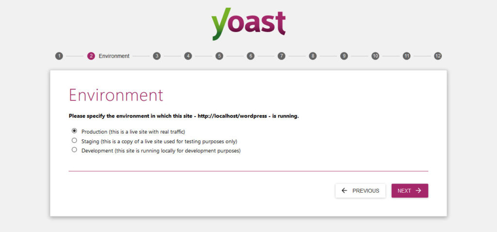 yoast seo configuration wizard environment