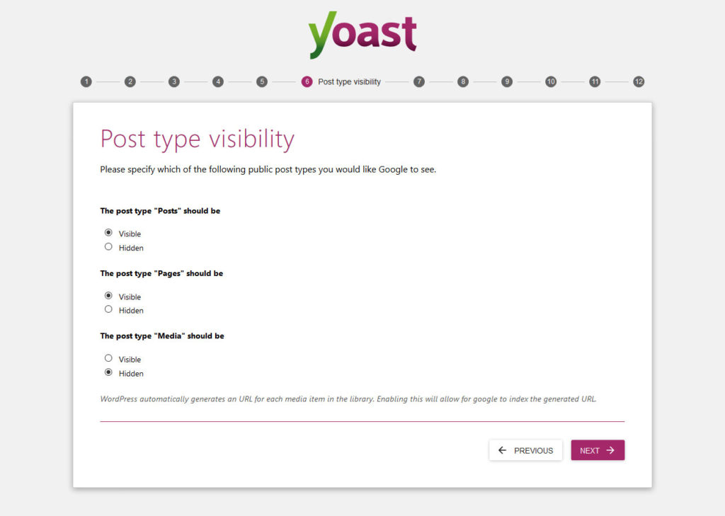 yoast seo configuration wizard post type visibility