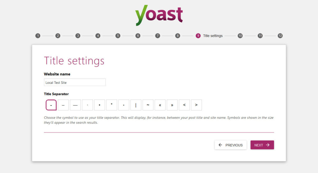yoast seo configuration wizard title settings