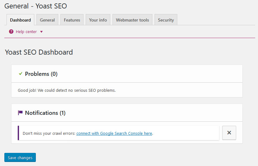 yoast seo dashboard