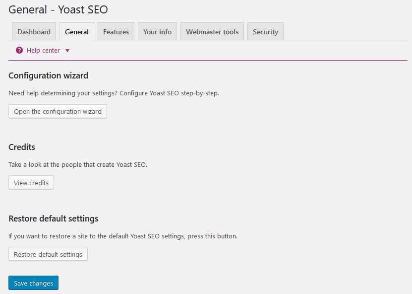 yoast seo settings general