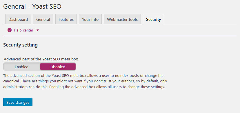 yoast seo settings security