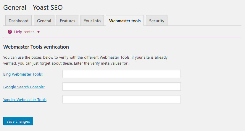 yoast seo settings webmaster tools