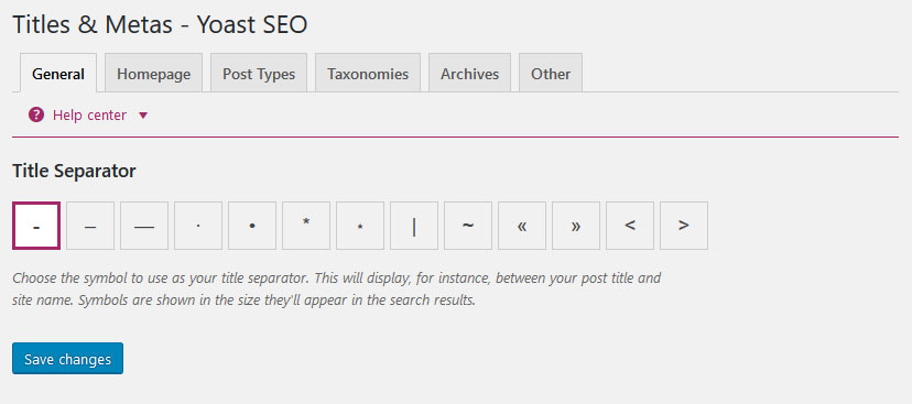 yoast seo titles and metas settings general
