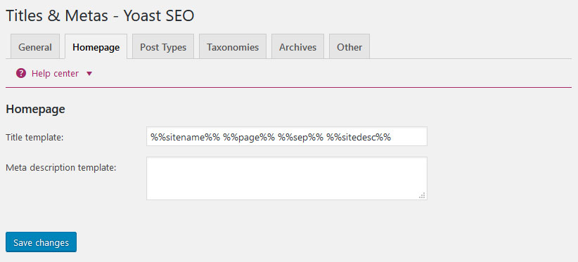 yoast seo titles and metas settings homepage