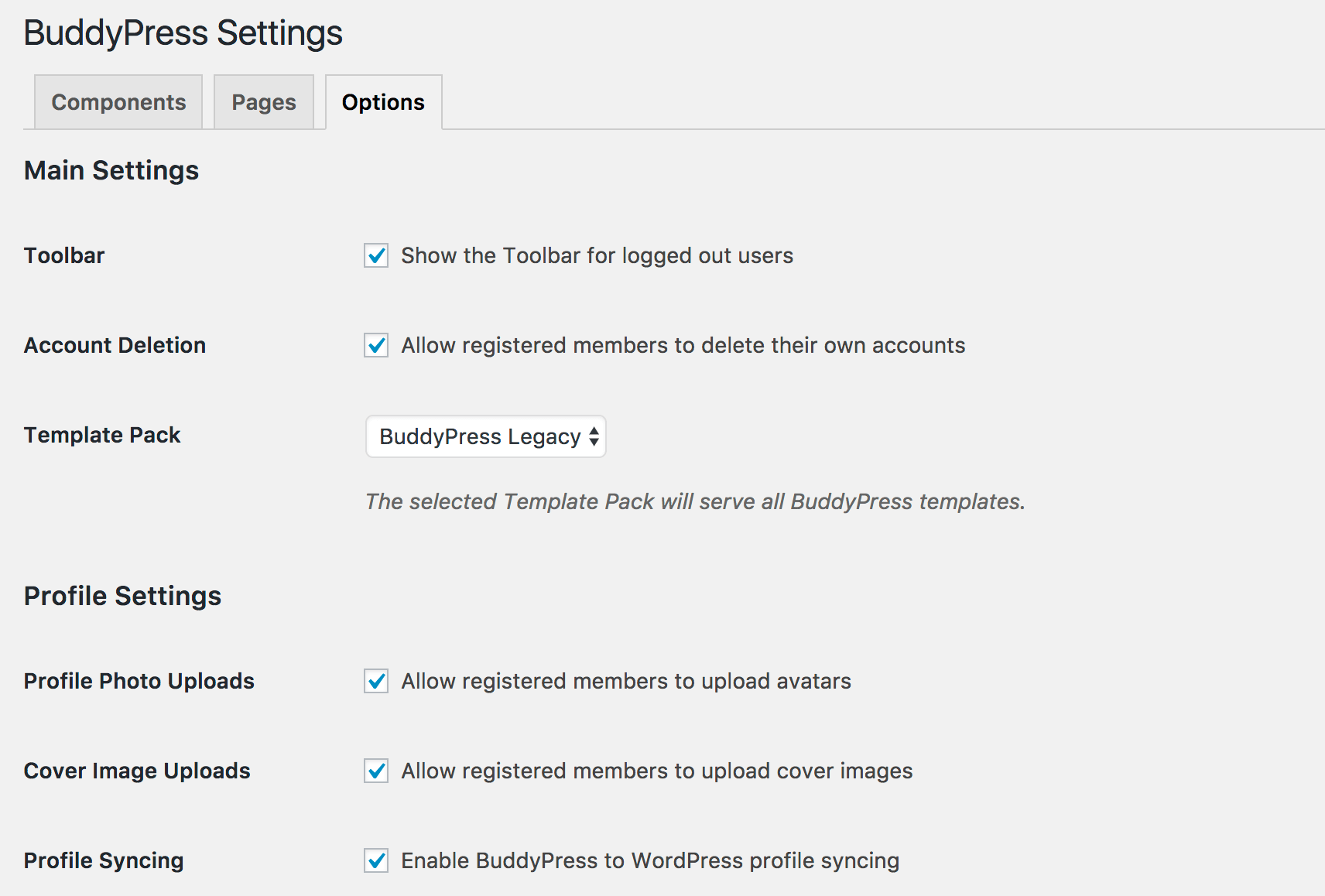 BuddyPress options screen