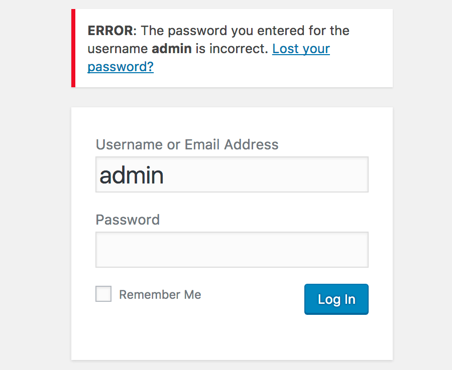 Incorrect admin password screen on WordPress