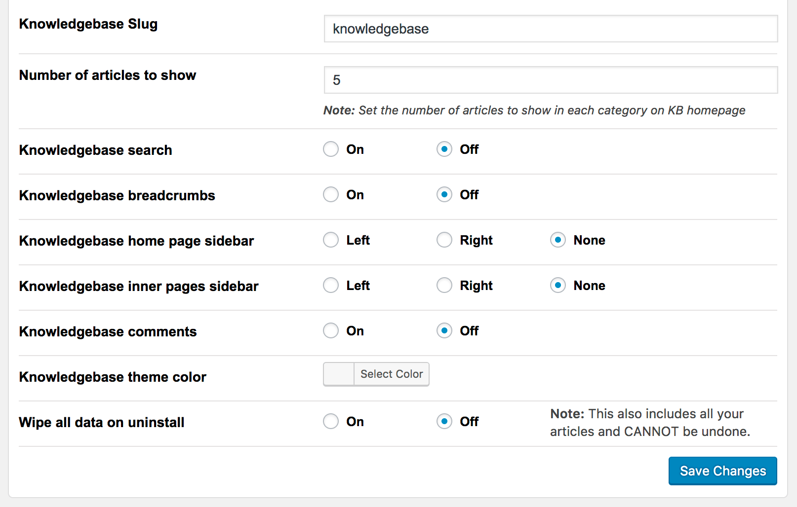 Knowledge base options interface