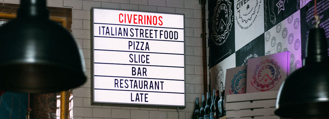 A pizza menu.