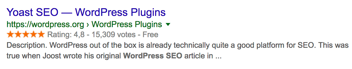 WordPress.org rich results in Google