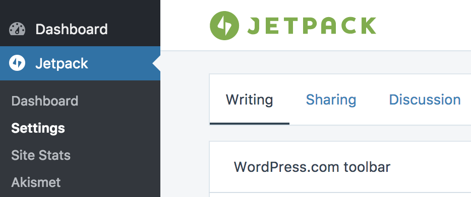 Jetpack writing settings in dashboard