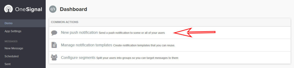 onesignal create new push notification