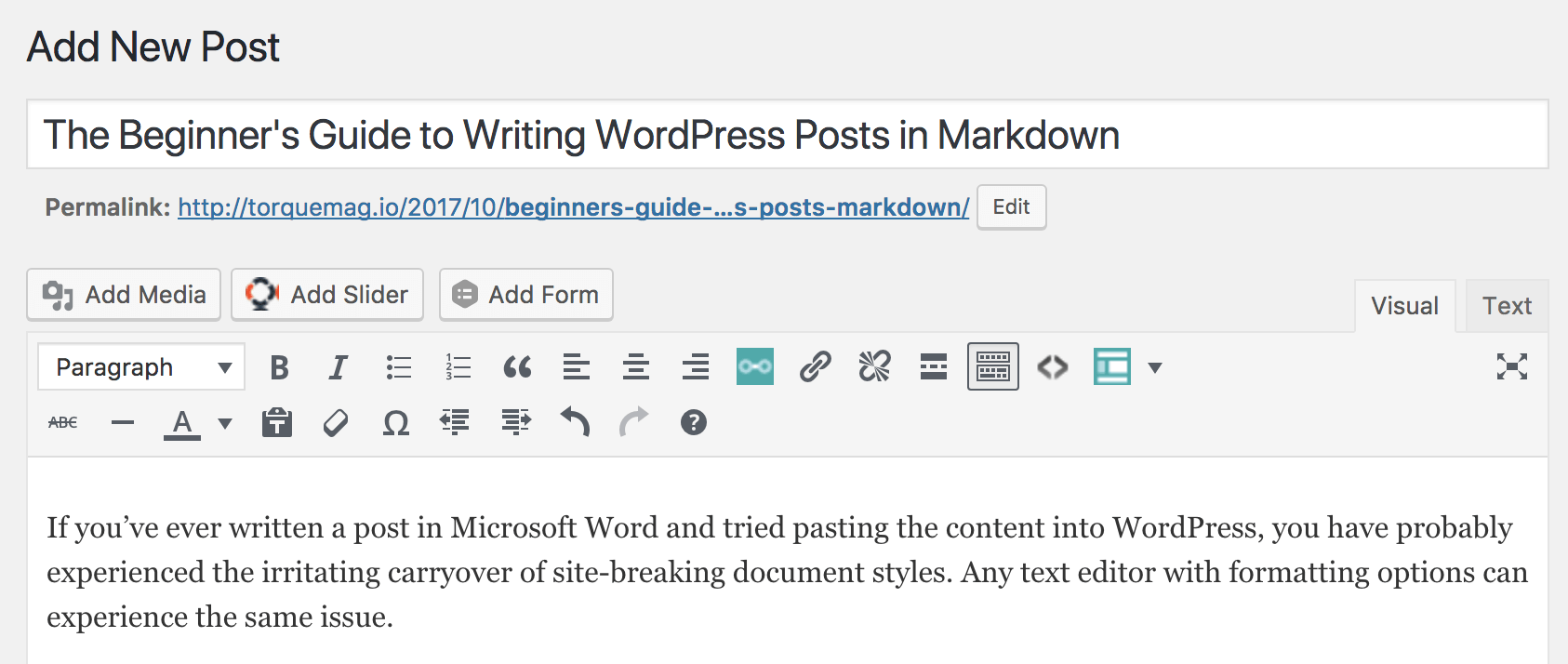 WordPress editor converts markdown to text
