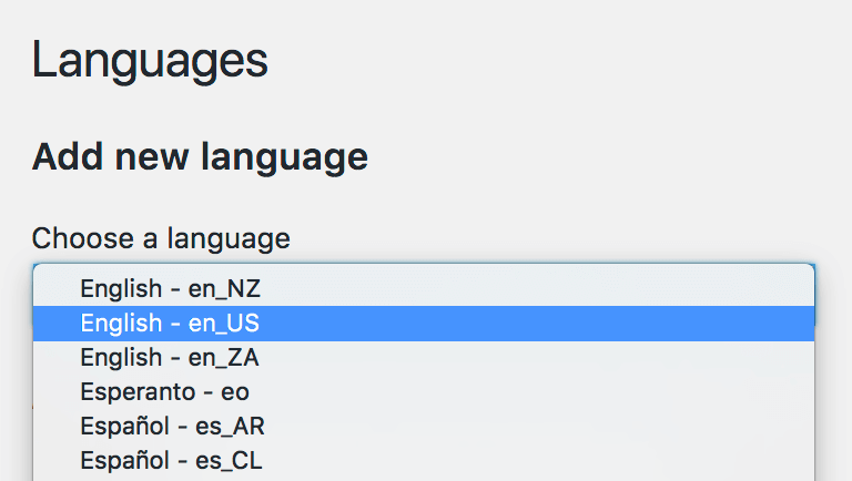 New language dropdown selector