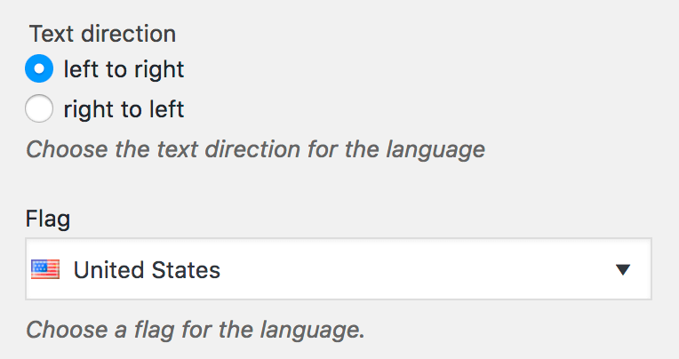 Language options