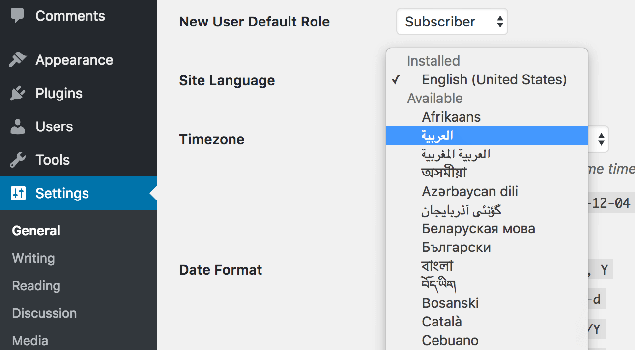 The language drop-down menu within WordPress.