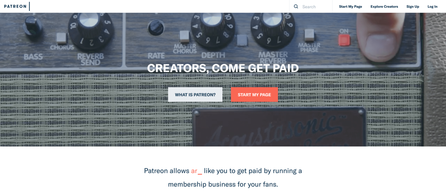 The Patreon website.